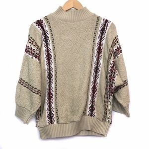 VINTAGE Tan Brown Nordic Striped Mock Neck Sweater